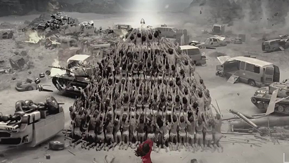 From: Vintage 'Trees' music video. All humanity forming a pyramid worshipping, welcoming the Satanic capstone! The Anti-Christ, the bringer of false peace, the white horseman of Revelation 6 ! The completion of the New World Order project, in a world wrecked by global wars, collapse and chaos!