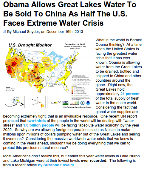Obama Allows Great Lakes Water To Be Sold To China As Half The U.S. Faces Extreme Water Crisis - Download  PDF