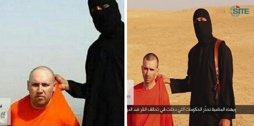 Screenshot from video posted online by  Jihadist extremist group Islamic State  showing US journalist Steven Sotloff (left)  who is said to have been executed in a video  uploaded September 2, 2014.  The group has threatened  to behead UK national  David Cawthorne Haines (right)  if its demands are not met.